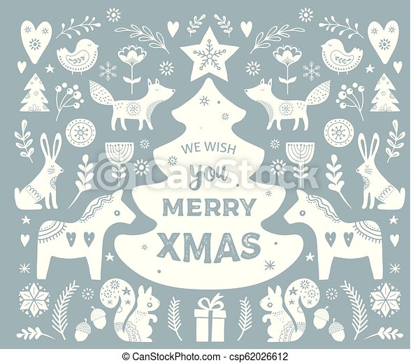 Christmas Illustrations Clip Art.Christmas Illustrations Banner Design Hand Drawn Elements In Scandinavian Style