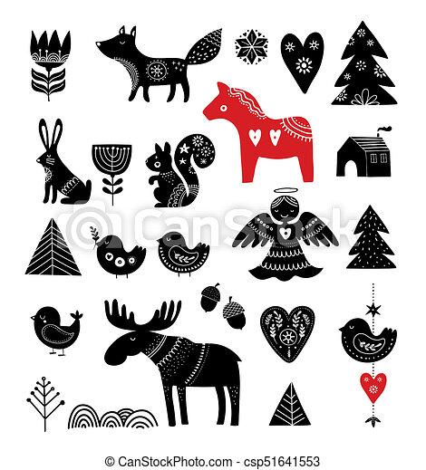 Christmas Illustrations.Christmas Illustrations Hand Drawn Elements In Scandinavian Style