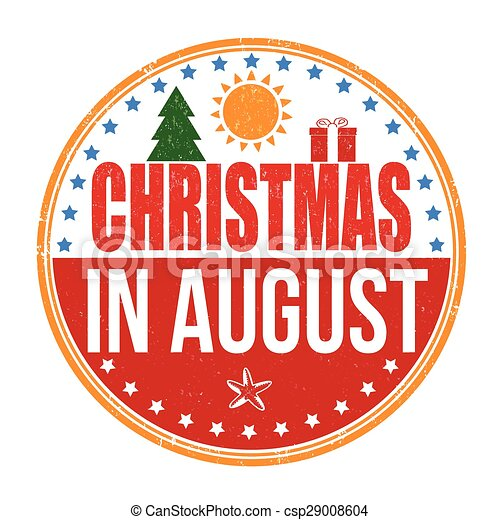 Christmas In August Clipart.Christmas In August Stamp