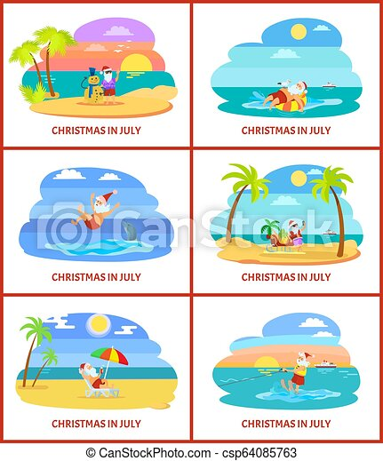 Christmas In July Royalty Free Images.Christmas In July Santa Claus With Snowman Of Sand