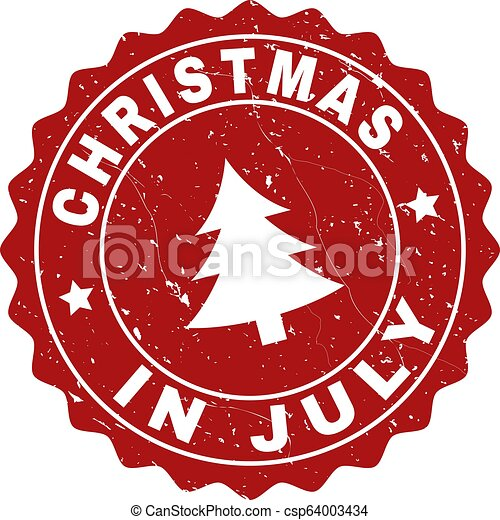 Christmas In July Royalty Free Images.Christmas In July Scratched Stamp Seal With Fir Tree