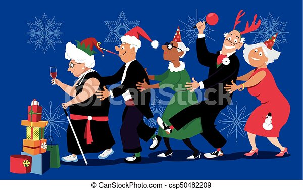 Christmas In Senior Home Group Of Active Seniors Dancing