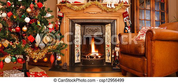 Christmas interior panorama - csp12956499