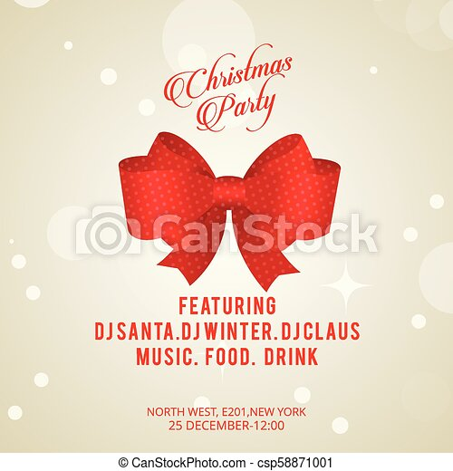 Christmas invitation card with bow - csp58871001