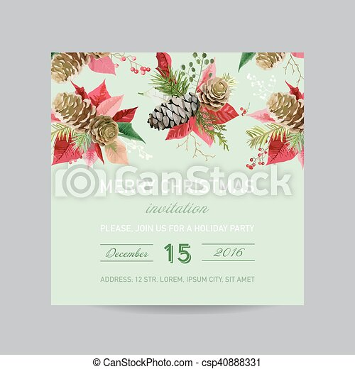christmas invitation pine and poinsettia card winter background in