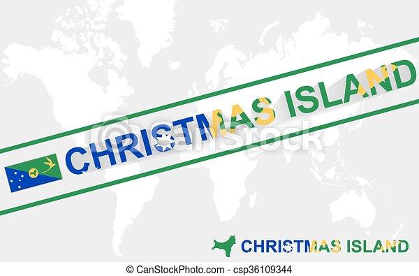 Christmas Island Map Flag And Text Illustration On World Map