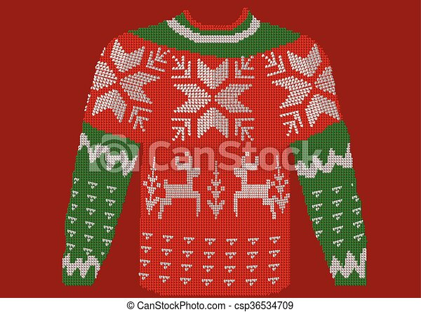 Christmas Jumper On Red Background 10 Eps Canstock