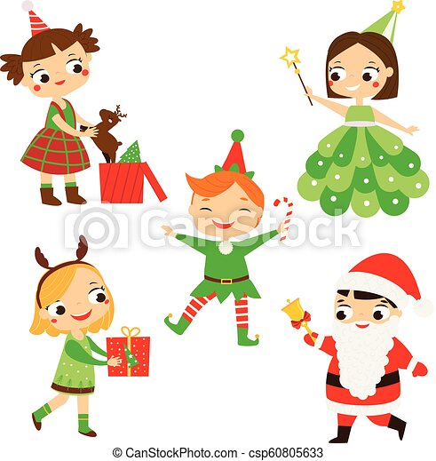christmas kids happy new year children in party costumes of santa elf deer and other