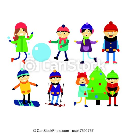 christmas kids playing winter games skiing sledding cartoon new year winter holidays characters vector illustration holiday toy scarf friend greeting