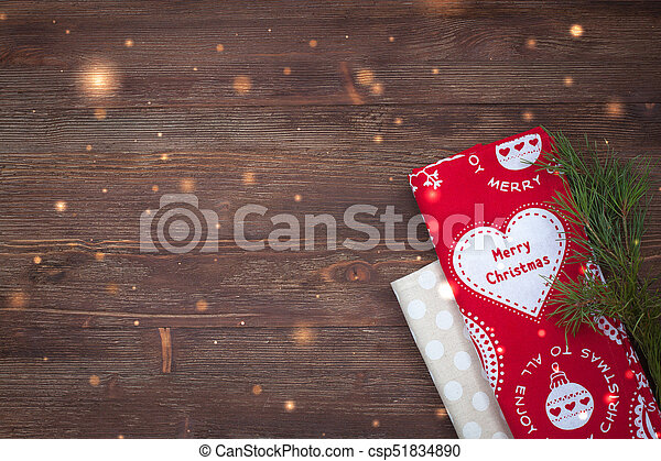 Christmas Kitchen Towels On The Wooden Background With A Branch Of Pine And Golden Sparkles Canstock