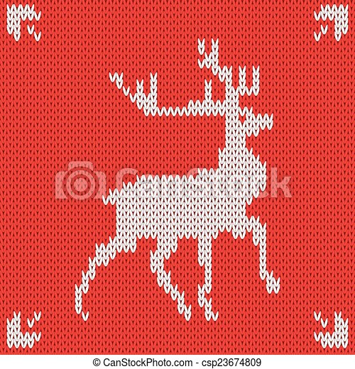 Christmas Knitted background with deer. Vector - csp23674809