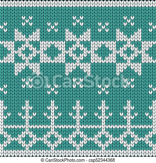 Christmas Knitted Blue Background Knitted Christmas Knitted Vector