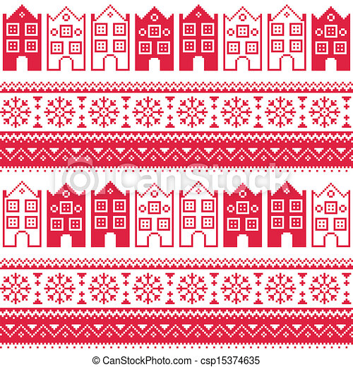 Christmas knitted seamless pattern - csp15374635