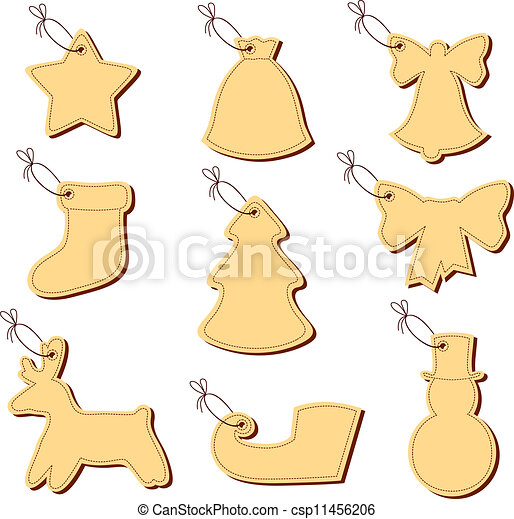 Christmas labels on a string - csp11456206