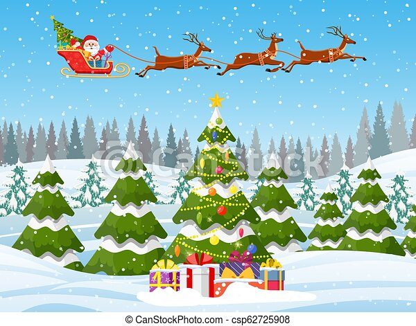 Christmas Trees Background Clipart.Christmas Landscape Background With Snow And Tree