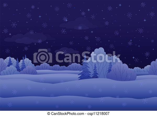 Christmas landscape, night winter forest - csp11218007