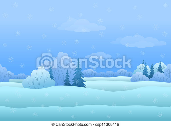 Christmas landscape, winter forest - csp11308419