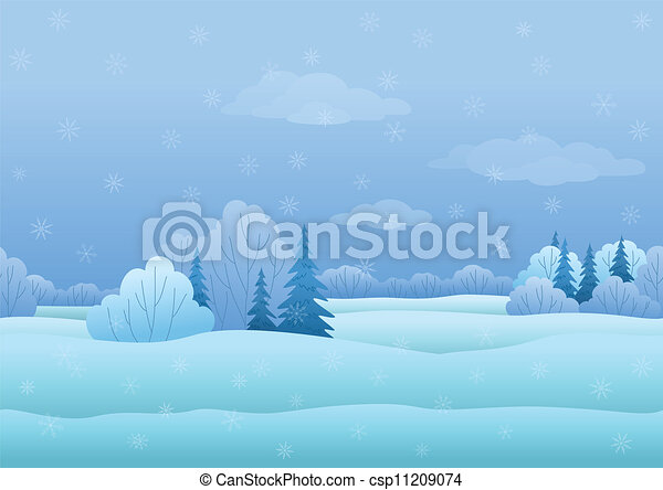 Christmas landscape, winter forest - csp11209074
