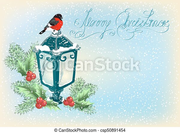 Christmas lantern with bullfinch, decorative spruce and holly berries on snowfall background - csp50891454