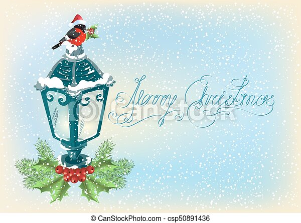 Christmas lantern with bullfinch, decorative spruce and holly berries on snowfall background - csp50891436