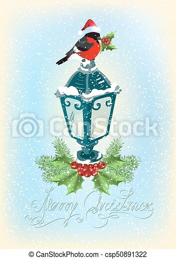Christmas lantern with bullfinch, decorative spruce and holly berries on snowfall background - csp50891322