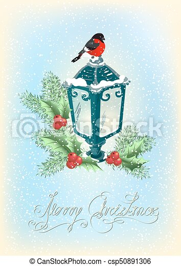 Christmas lantern with bullfinch, decorative spruce and holly berries on snowfall background - csp50891306
