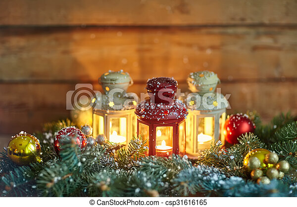 Christmas Lanterns.Christmas Lanterns And Baubles In Snow
