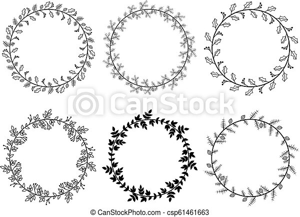Christmas Laurel Wreaths Vector Collection - csp61461663