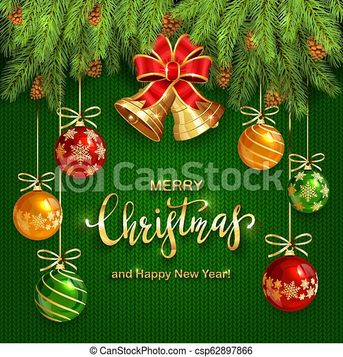 Christmas Lettering on Green Knitted Background with Golden Bells and Balls - csp62897866