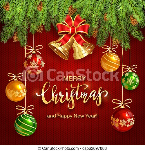 Christmas Lettering on Red Knitted Background with Golden Bells and Balls - csp62897888