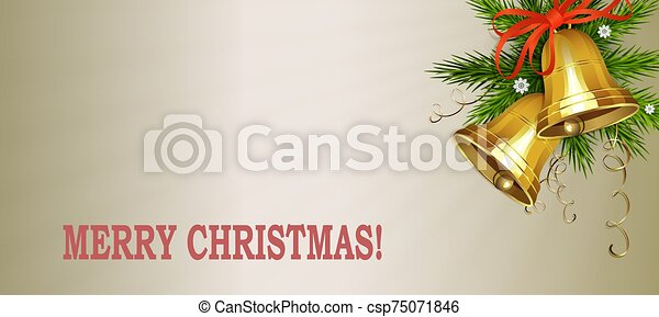 Christmas light composition with two golden bells and a fir branch - csp75071846