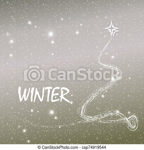 Christmas light design with abstract christmas tree and many snowflakes - csp74919544