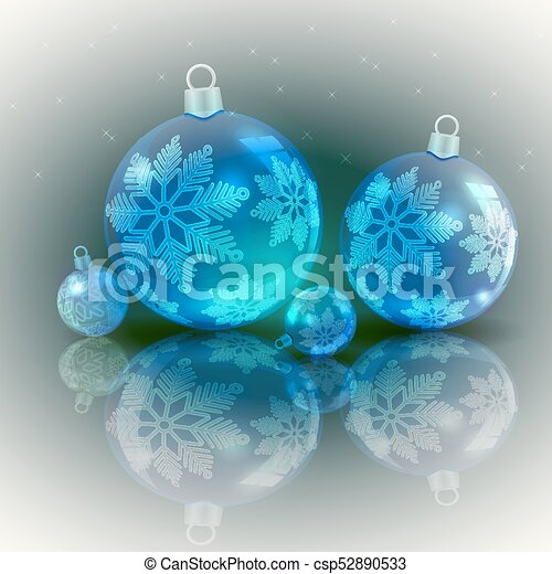 Christmas light design with blue balls - csp52890533