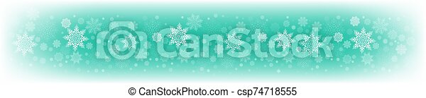 Christmas light green background with a set of beautiful snowflakes - csp74718555