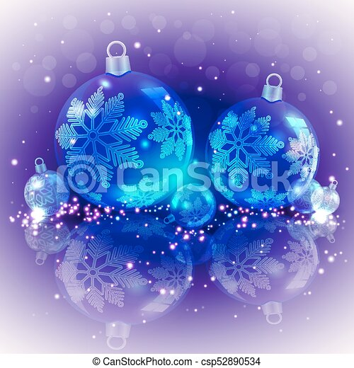 Christmas light purple background with blue glass balls - csp52890534