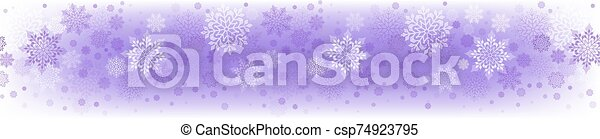 Christmas light purple composition with a set of beautiful snowflakes - csp74923795