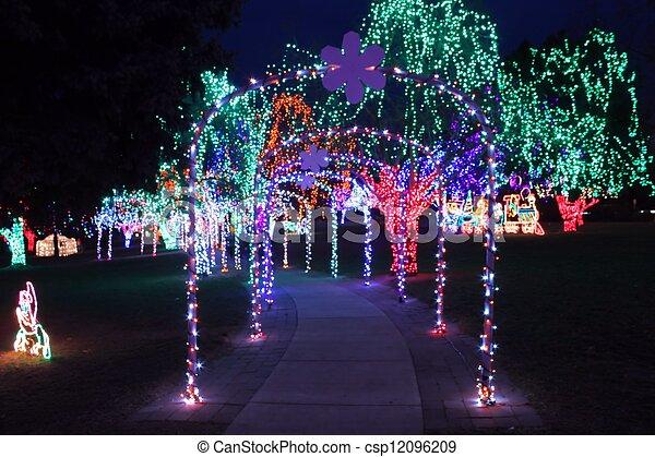 christmas light walkway csp12096209