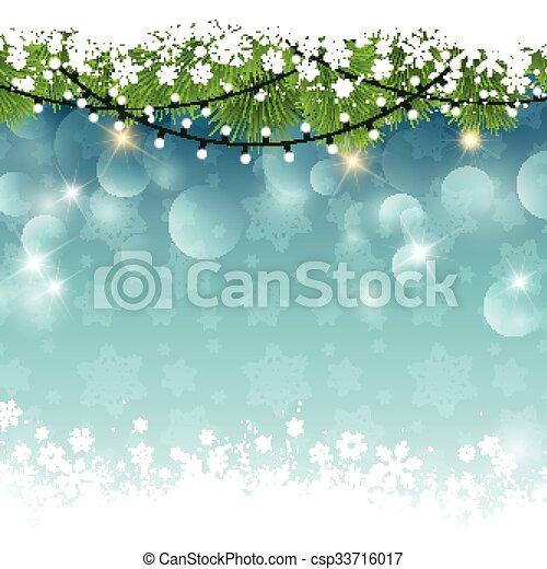 Christmas lights and snow - csp33716017