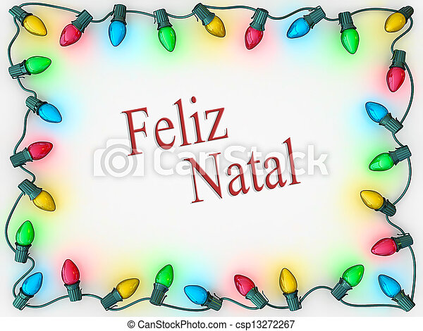 Stock Image of Christmas Lights Border Merry Christmas Portuguese ...