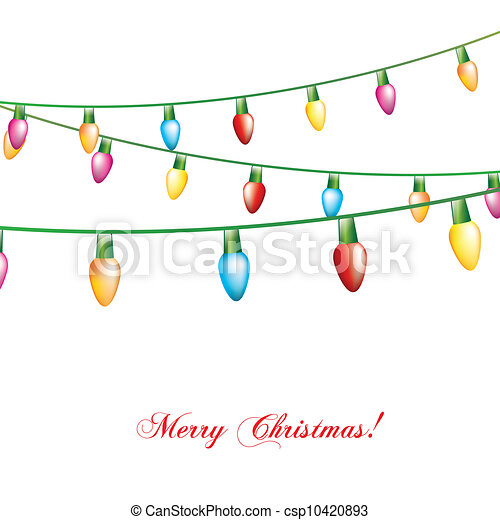 Christmas Lights Isolated Over White Background Vector Eps