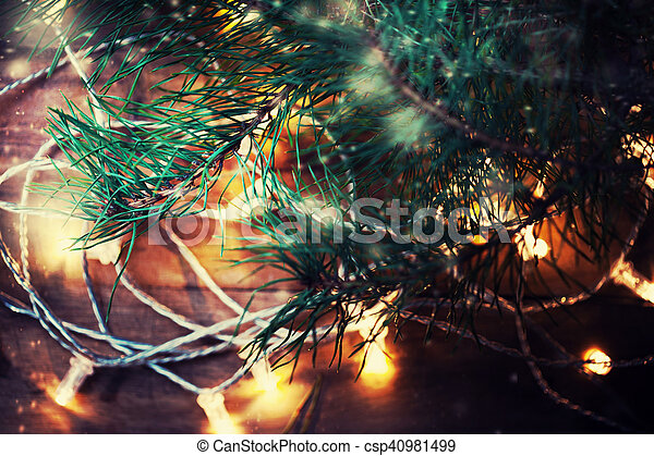 Christmas Lights Garland On A Old Wooden Floor Merry Christmas Lights Wallpaper