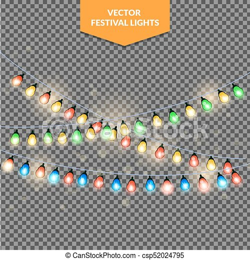 Christmas lights, holiday background, eps 10 vector illustration - csp52024795