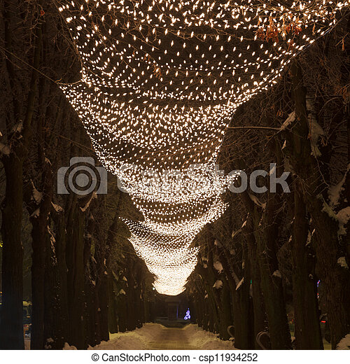Christmas lights in the city alley - csp11934252