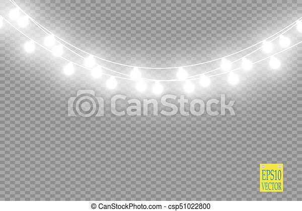 Amazing Christmas Lights Isolated On Transparent Background Xmas Glowing Garland Vector Clip String Clipart With No