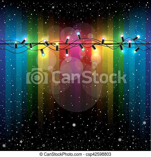 Christmas lights snow rainbow - csp42598803