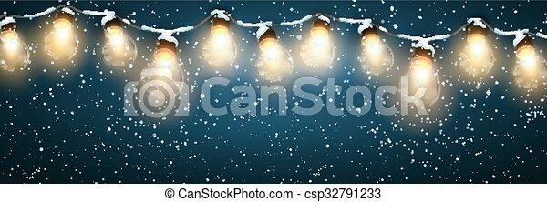 Christmas Lights With Snow. - csp32791233