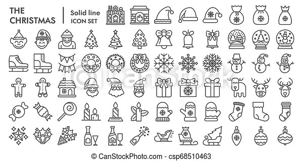Christmas line icon set, celebration symbols collection, vector sketches, logo illustrations, winter signs linear pictograms package isolated on white background, eps 10. - csp68510463