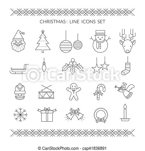 32b222a355db2 Christmas line icons set. Holiday event. happy new year.