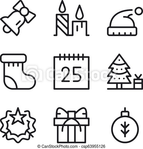 Christmas line icons set. Outline elements, linear signs, simple symbols  collection. Modern graphic design concepts. Vector line icons