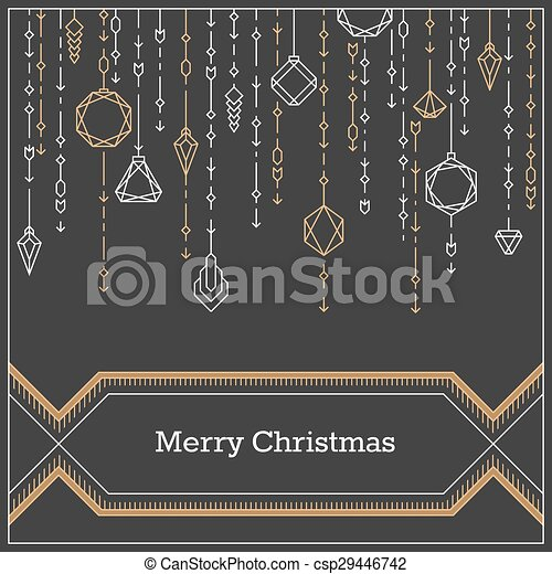 christmas linear background lineart postcard hipster new year frame